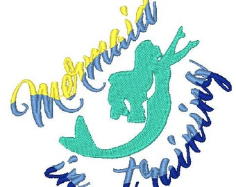Mermaid in Training Embroidery Designs, Ombre mermaid Embroidery, Mermaid Silhouette, Sewget2thepoint, Mermaid in Training Ombre Embroidery