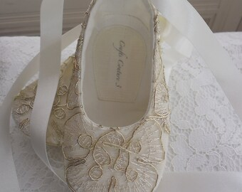 Metalic Gold Lace Christening shoes, Wedding, Flower Girl or Special Occasion Baby Girl Shoes.