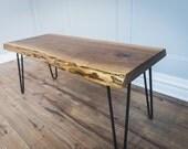 Live Edge Black Walnut Coffee Table with Hairpin legs, Handmade in Toronto - Canada, Slab, Waney Edge, Condo Size, Small Bench, Steel Legs