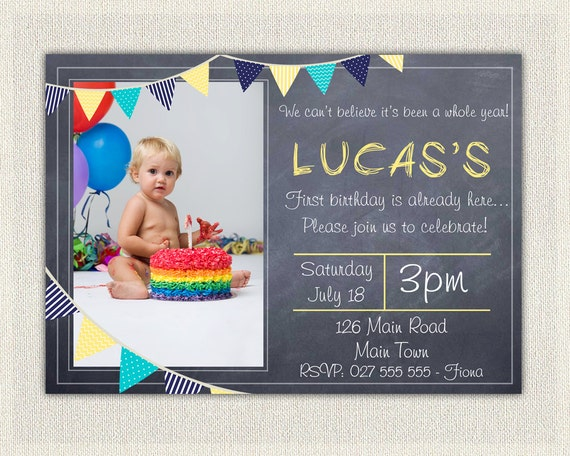 Boys blue and yellow 1st birthday invitation printable download il570xn filmwisefo Image collections