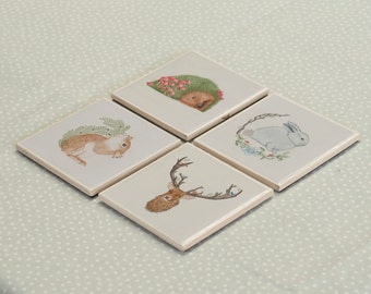Set of 4 Woodland Animals Coasters