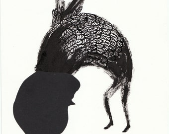 solo No4. papercut, ink, primative, folk art