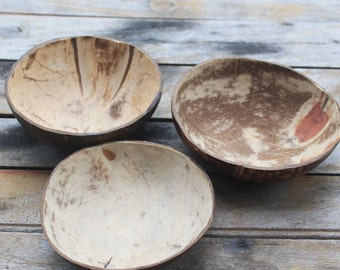 Coconut bowl,coconut shell 3 bowls,bright and dark color,size 5-6 x 1.5 - 2 inch