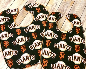 Handmade San Francisco Giants Reversible Cotton & Minky Baby or Toddler Bib