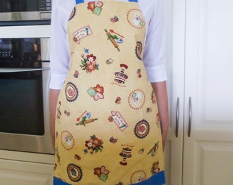 Womens Retro Full Apron, vintage kitchen apron, lined cooking hostess apron 50s baking essential style, pocket apron, Homemade Delight print