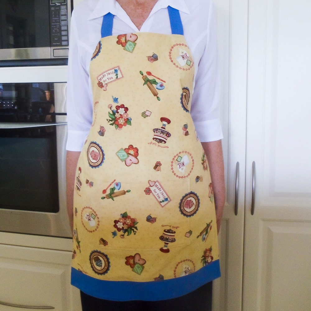 Womens Retro Full Apron Vintage Kitchen Apron Lined Cooking