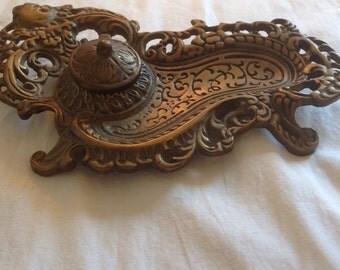 Vintage Brass Ink Well Holder Tray