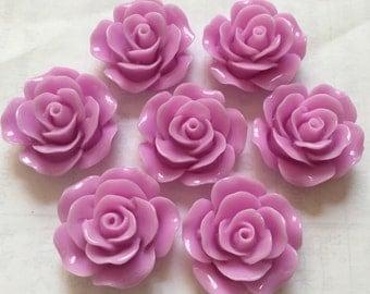 5 pcs 25 mm Light Purple Cabochon Flowers,purple resin flower,lavender resin cabochon,Flat back flower,big rose flower,purple rose cabochon