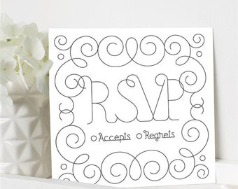 Wedding RSVP Card-set of 10