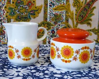 Orange pop sunflower BAVARIA SCHUMANN ARZBERG porcelain sugar bowl & creamer set - French 70s vintage