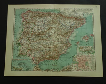 "SPAIN old map of Spain and Portugal 1913 detailed vintage poster Spanien - antique maps Madrid Barcelona Seville Spanien landkarte - 10x12"""