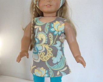 American Girl Doll/18 Inch Doll Clothes, Summer Jumper/Dress/Leggings/Headband. Colors of Gray, Yellow, Green and Blues