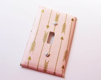 Tribal Light Switch Cover Pink Gold Arrow Arrows Kids Shabby Cottage Chic Girls Room Decor Baby Nursery Switchplate Light Plate Toddler Room
