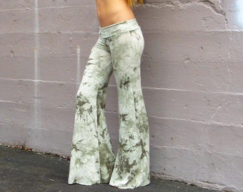 BAMBOO TIE DYE eco sustainable palazzo wide leg bell bottom bohemian yoga lounge dance beach resort casual pants with drawstring waistband