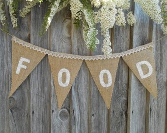 Party Decor Food Banner Party Banner Food Bunting Food Sign Celebration Banner Wedding Banner Food Banner Birthday Party Banner