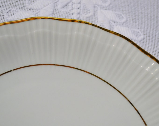 Vintage Walbrzych Empire Salad Plate White Gold Made in Poland Panchosporch