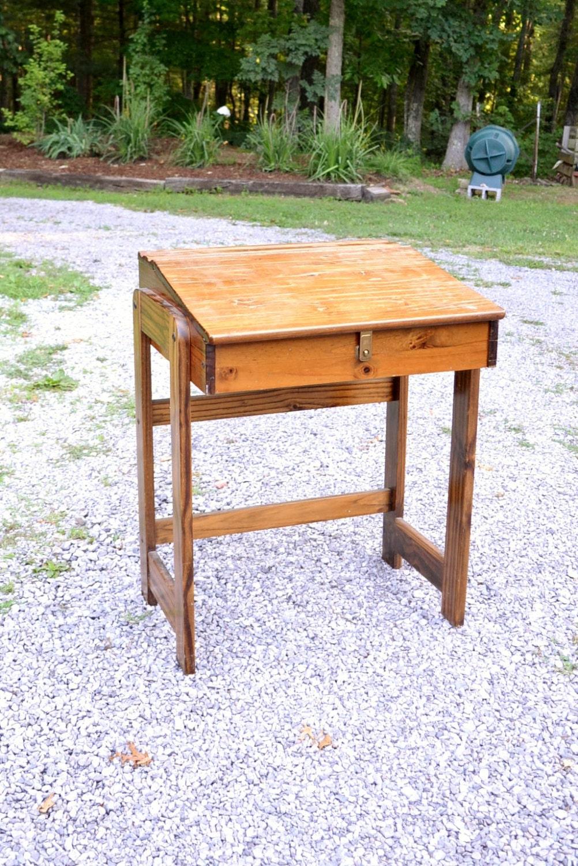Vintage Wooden Desk Handmade School Desk With Hinged Top
