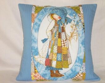 16X16 Pillow Sham, Child Pillow, Blue Cushion Cover, Quilted Cushion, Throw Pillow Cover, Accent Pillow, Sewnsewsister