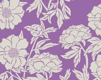 Valori Wells fabric Novella Peony VW53 Gypsy purple white floral flowers Free spirit 100% cotton fabric by the yard