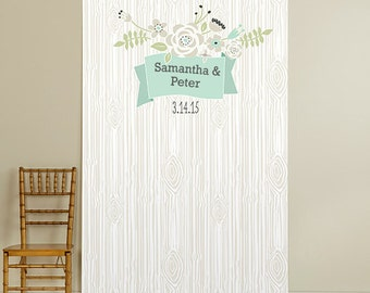 Rustic Wood with Flowers Photo Booth Backdrop