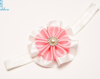 flower hair band - white and pink headband - hairband - you choose color 114