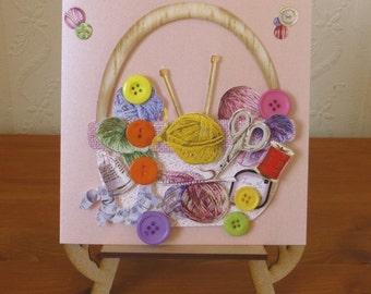 3D knitting Basket Ladies Birthday Card