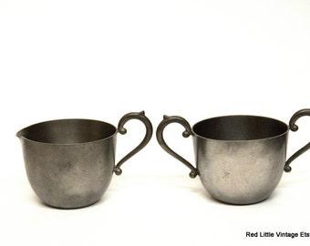 Cream and Sugar Set, Sugar Bowl, Vintage Kitchen Decor, Renaissance Props, Pewter Decor, Creamer and Sugar Set