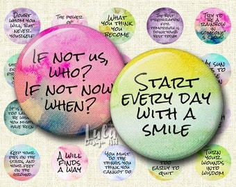 Inspirational Sayings -Watercolor Quotes, 1 inch circle images, round images, quotes, bottle cap images, bottle caps, digital stamp, magnet