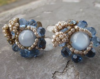 Vintage Miriam Haskell Sapphire Crystal and Faux Seed Pearl Clip Earrings. Signed