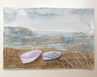 On the shore - seaside watercolour collage painting