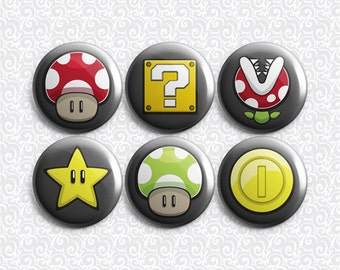Mario Gamer 6 Pack - Pinback Badge / Magnets / Sticky