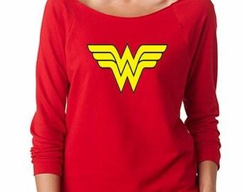 Wonder Woman  French Terry Sweatshirt Off the Shoulder Sweatshirt Running Shirt Half Marathon Shirt Marathon shirt Super Hero Shirt