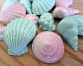 24 Mermaid Edible Fondant Shells Favors, Cake Topper Cupcake, Under the Sea Birthday Decor, Wedding Beach Summer Party, Baby Shower Bridal
