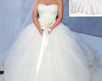 Custom Hand Made White Kim Kardashian Vera Wang Celebrity Designer Inspired Tulle Ball Gown Wedding Gown Dress