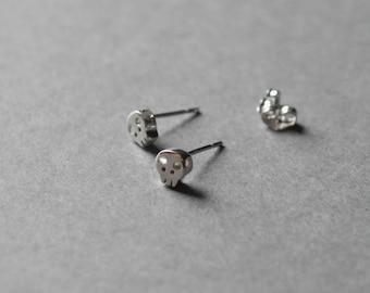 Silver Mini Skull Stud Earring - Sterling Silver