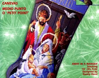 "Bucilla Away In A Manger ~ 18"" Needlepoint Christmas Stocking Kit 84417 Nativity"