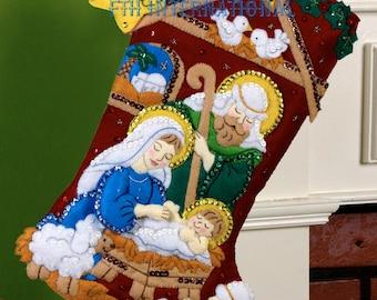 "Nativity  Bucilla 18"" Felt Christmas Stocking Kit #86449 DIY"