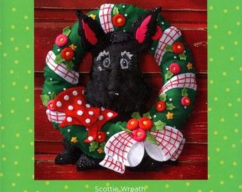 Bucilla Scottie Dog Wreath ~ Felt Christmas Home Decor Kit #86681 Black New 2015 DIY