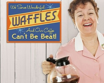 Wonderful Waffles Coffee Cant Be Beat Diner Sign - #39041