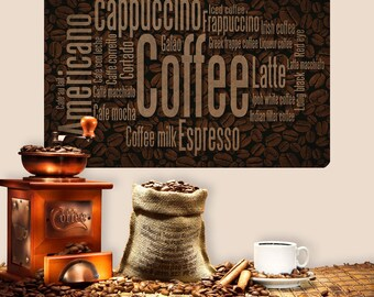 Coffee Names Word Cloud Wall Decal - #60668
