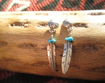 Turquoise and Sterling Concho and Feather Dangle Earrings