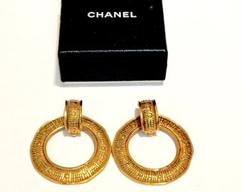 Chanel Gold Toned Earrings Clip Ons  France Boxed