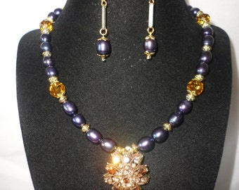 Black Iridescent Pearls Smokey Quartz Color Crystals Necklace Set******.