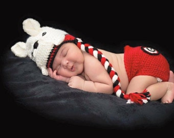 Crochet Georgia Bulldogs Hat and Diaper Cover Photo Prop