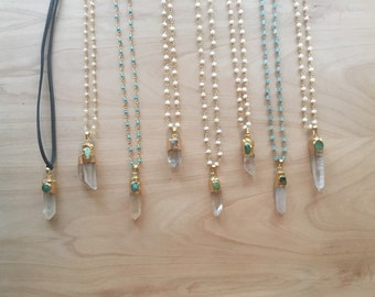 Turquoise spike necklace |Long Spike Necklace | Long Layering Necklace