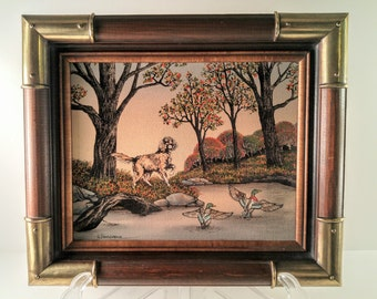 Vintage H Hargrove Pointer Dog and Ducks by Lake Wood and Brass Framed Serigraph Oil on Canvas Painting. Collectible Art. Cabin Decor.