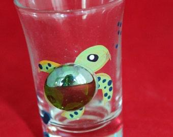Hand Painted Sea Turtle Jigger Shot Glass