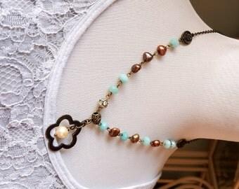 Amazonite gemstones freshwater pearls floral pendant necklace Antiqued inspired necklace Boho necklace
