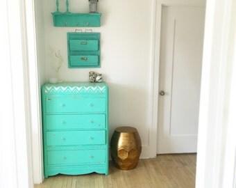 Mint Beachy Bahama Mama Shabby Chic Dresser