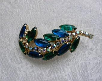 Vintage Green Blue Navettes Clear Chatons Rhinestone Stem Leaf Goldtone Brooch Gifts Under Twenty Five Birthday Designer Collectibles